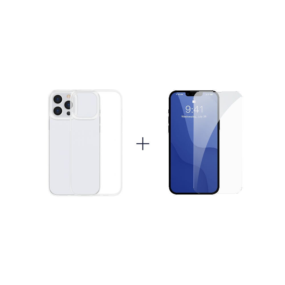 [Bundle] IP13 (Baseus Simple Case For IP 6.1 Pro inch 2021 Transparent) + IP13 (Baseus 0.3mm Full-glass Tempered Glass Film For IP 6.1 inch 2021)