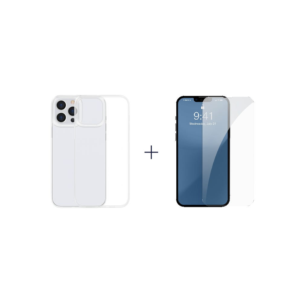 [Bundle] iP13 Pro Max (Baseus Simple Case For iP 6.7 inch 2021) + iP13 Pro Max (Baseus 0.3mm Full-glass Tempered Glass Film For iP 6.7inch 2021)